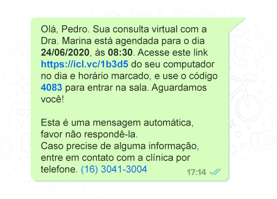 Lembrete automático da teleconsulta por WhatsApp